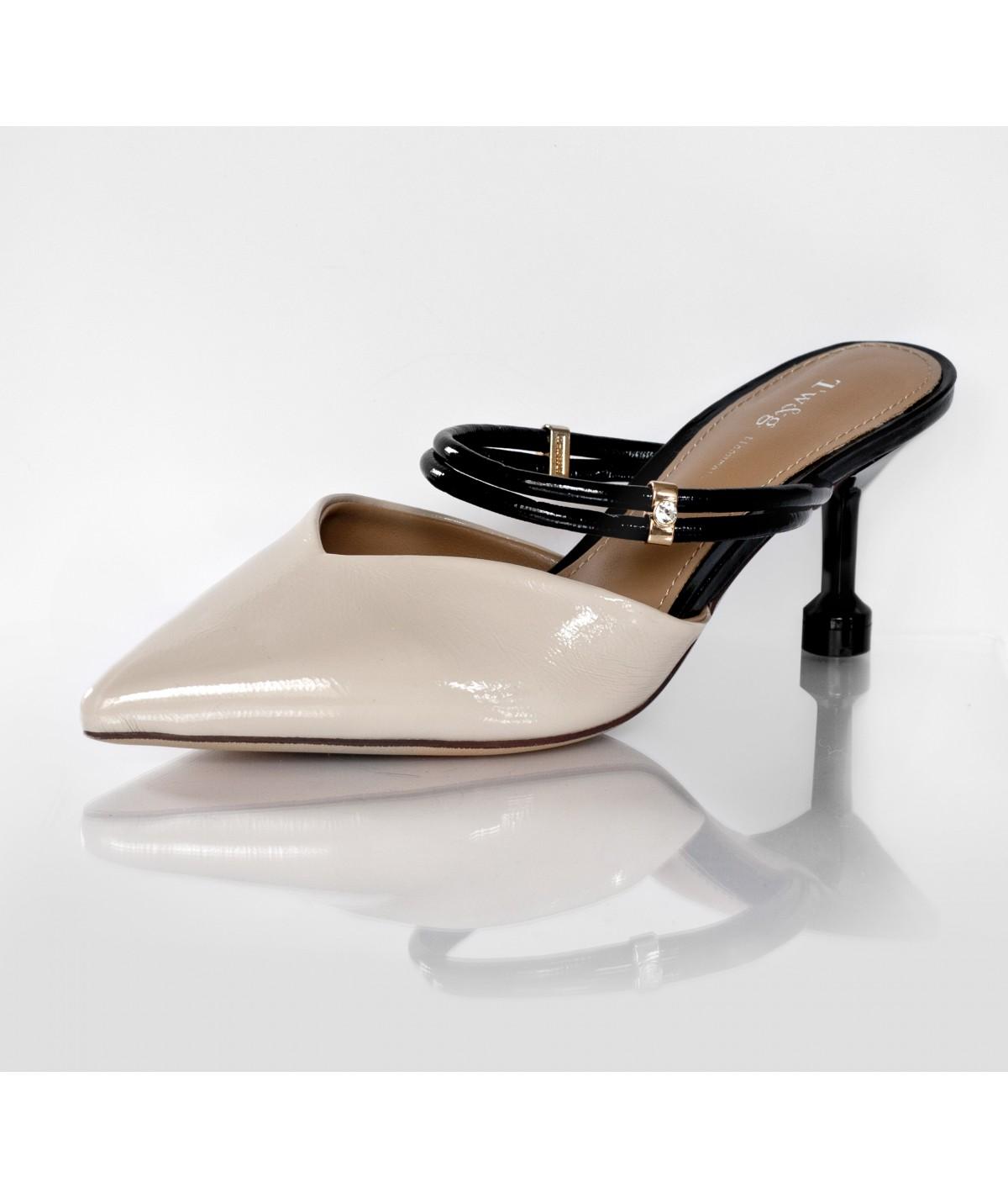 Cream Slipons with Small Heels - Rafaella