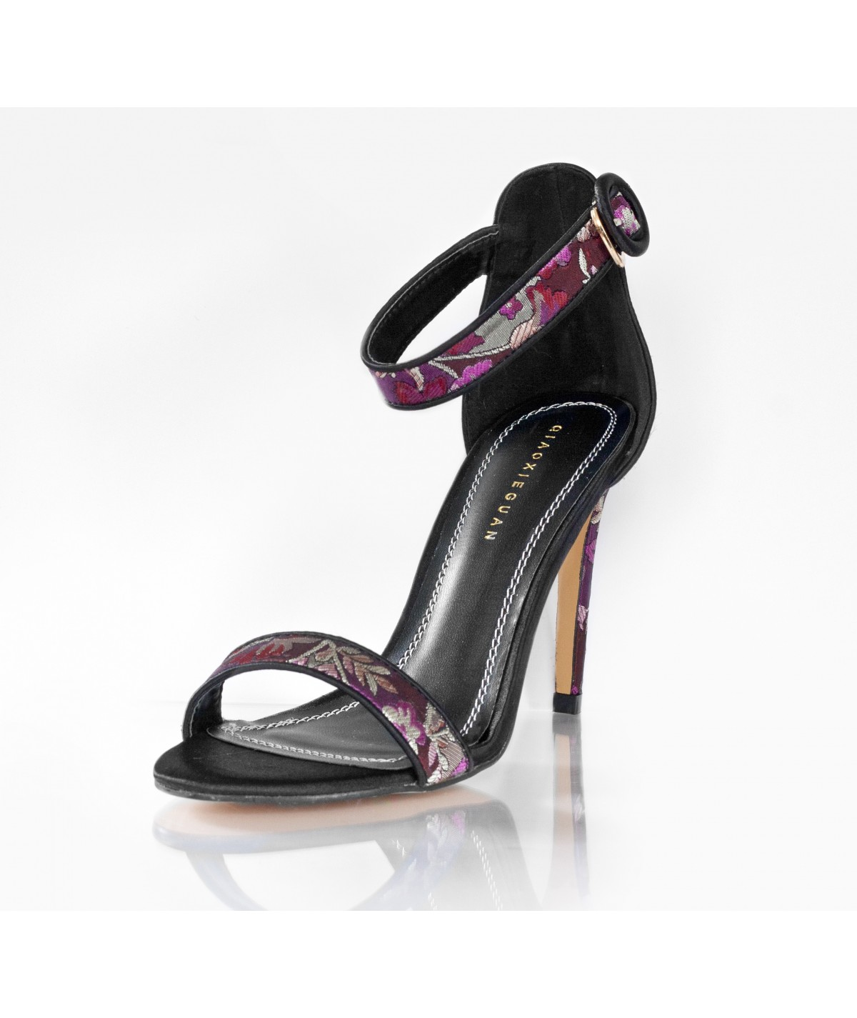 Purple and Black Sandals with High Heels - Catalina