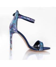 Violet & Black Sandals with High Heels