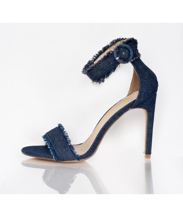Denim Sandals with High Heels