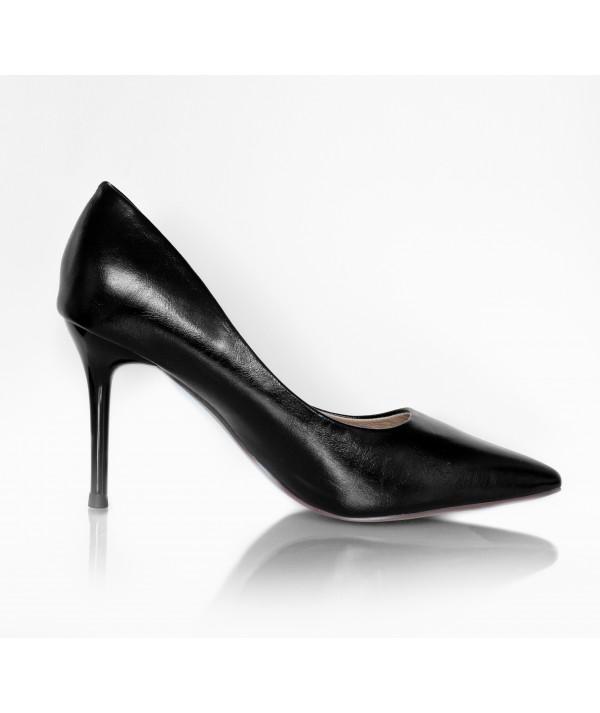 High Heels Black Leather - Petite Peds