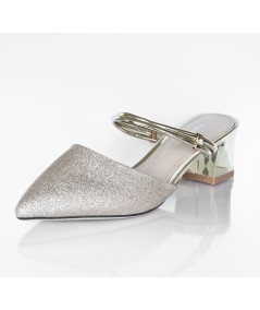 Gold Slip-Ons with Low Heels Pepita