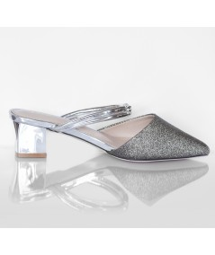 Silver Slip-Ons with Low Heels