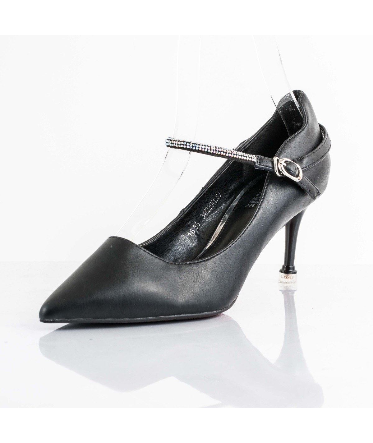 Olivia Color Black Material Leather Heel