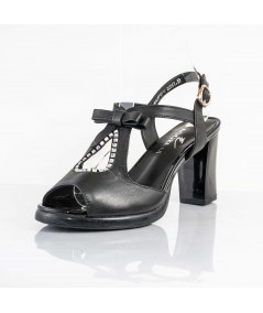 Joyce (Black) Black leather wedges for women